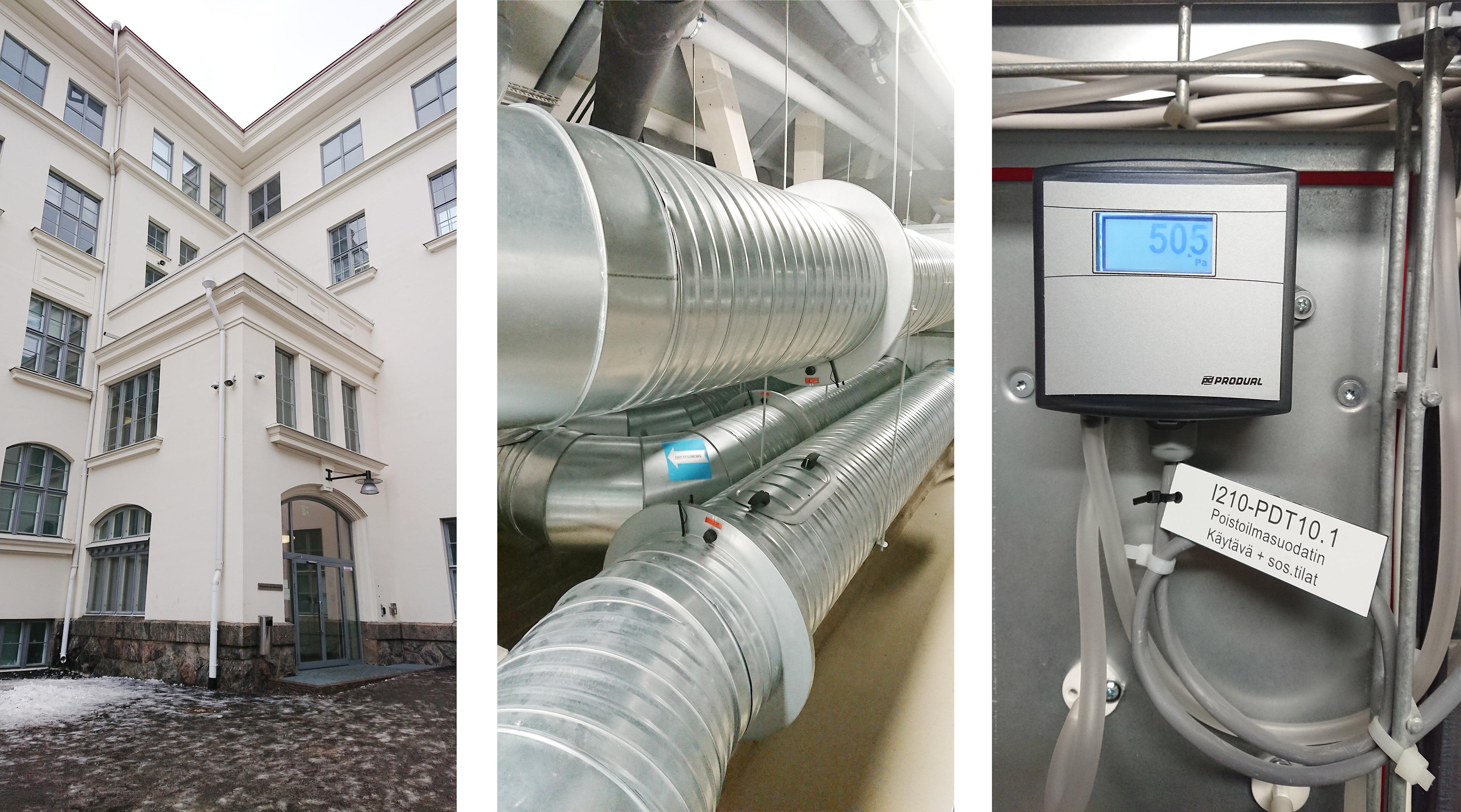 Kaisaniemen ala-aste ulkoa, ilmanvaihtoputkia ja mittari - Energiaviisaat