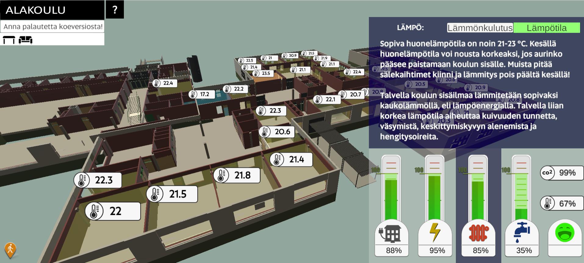 Kuva esittää koulun digitaalista mallia yläkulmasta, näkyvillä luokat ja niiden lämpötilat
