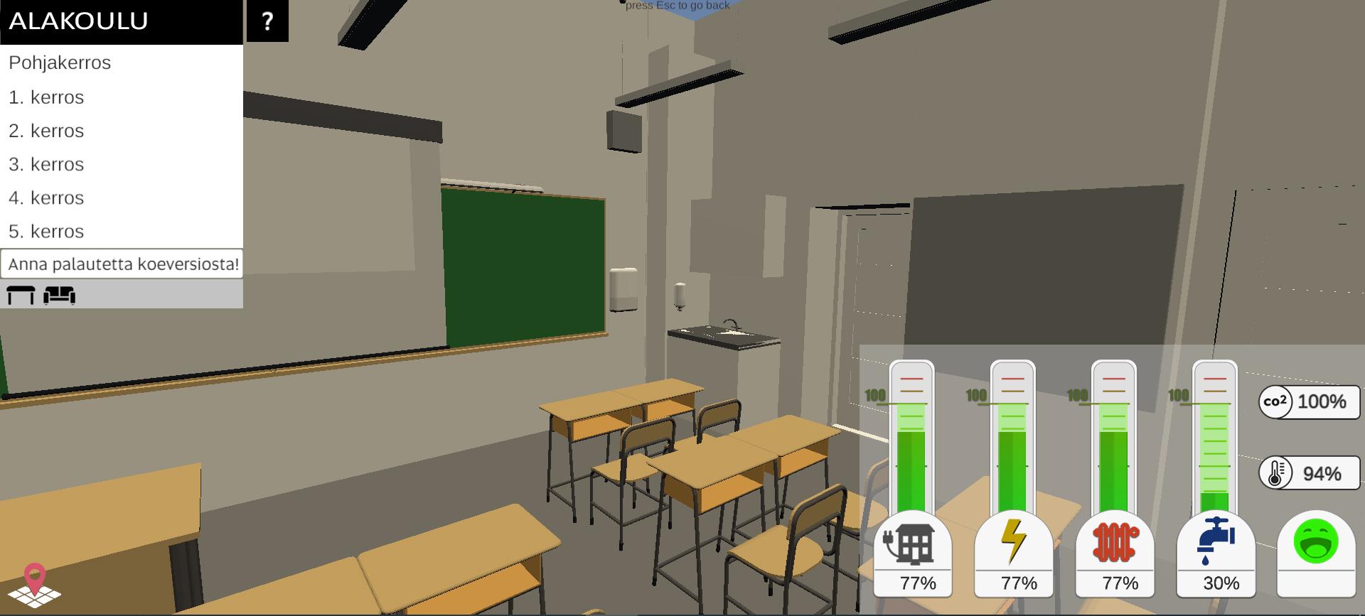 Kävelynäkymä alakoulun digitaaliseen malliin, näkymä luokan sisältä