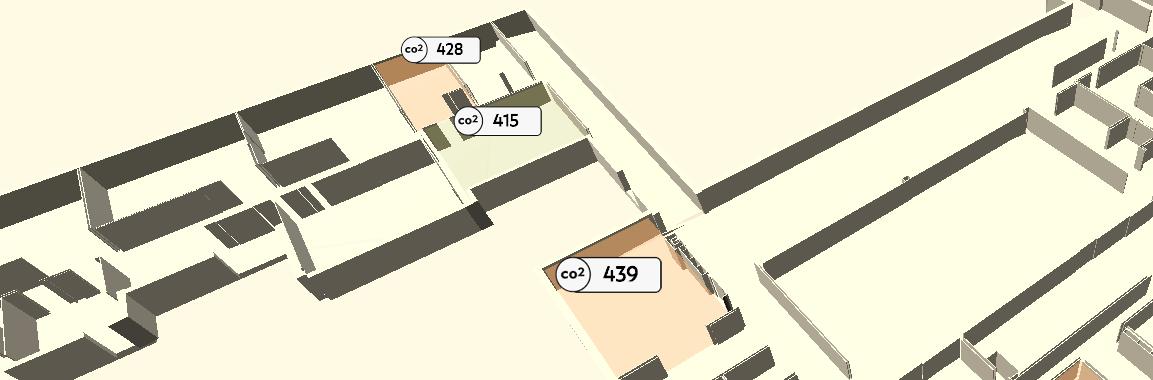 Kuva esittää yksinkertaista rakennusmallia ylänäkökulmasta. Mallissa näkyy hiilidioksidipitoisuuksia lukuina