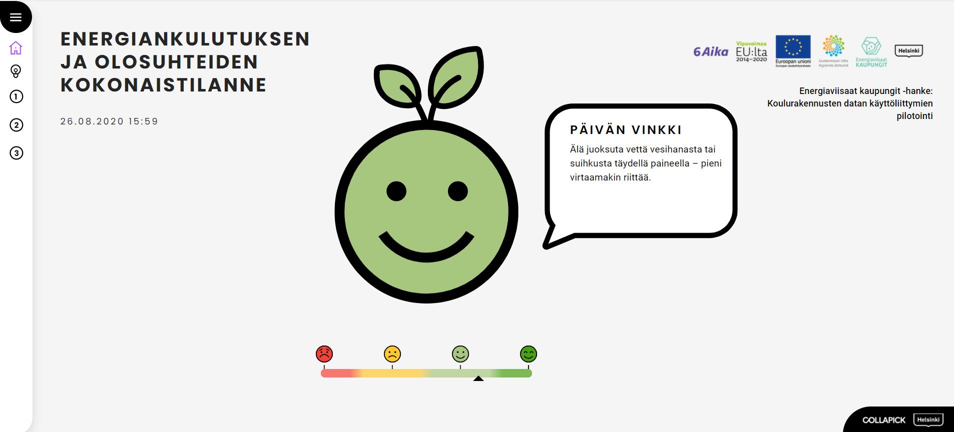 Kuva esittää olosuhde- ja energiatiedon omenamaskottia ja neliportaista asteikkoa.