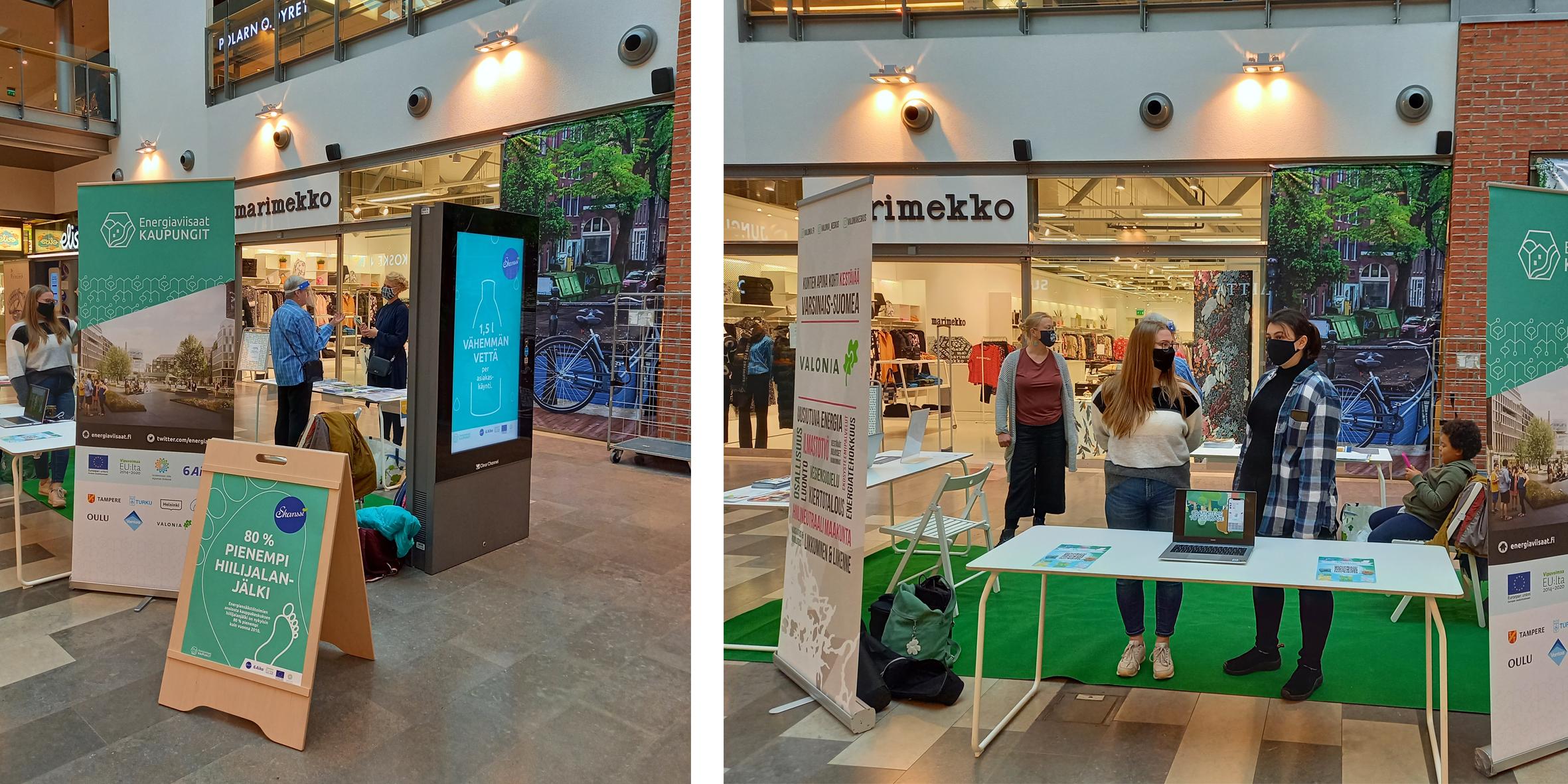 Energiansäästöviikon pop-up piste kauppakeskuksessa, jossa mukana Turun kaupunki, Valonia, Martat ja Punnu Games