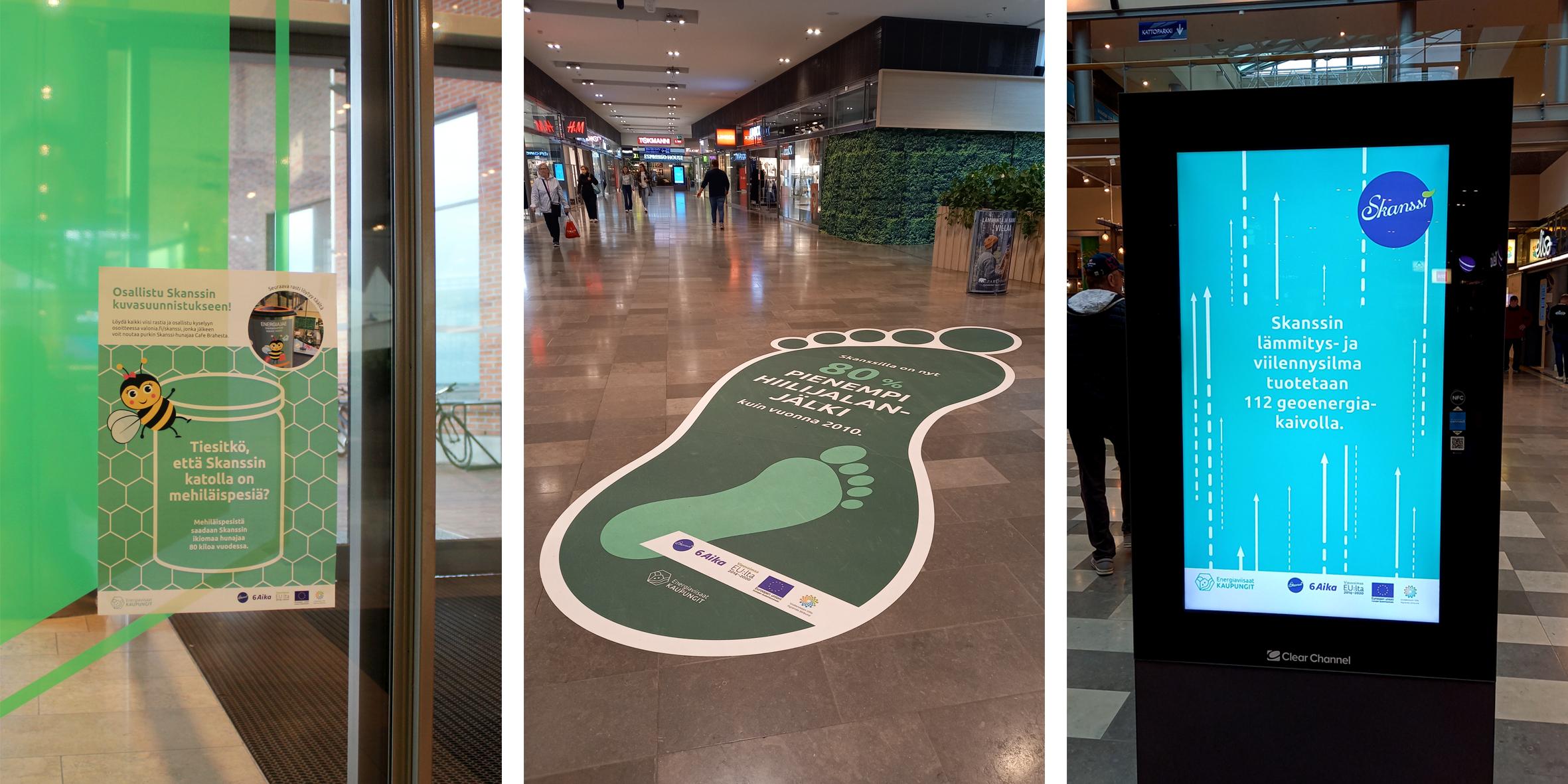 Energiansäästöviikon kampanjassa Skanssin kauppakeskuskuksessa tuotiin energiatekoja näkyville animoinneilla, jalanjälkiprinttauksella ja kuvasuunnistuksella