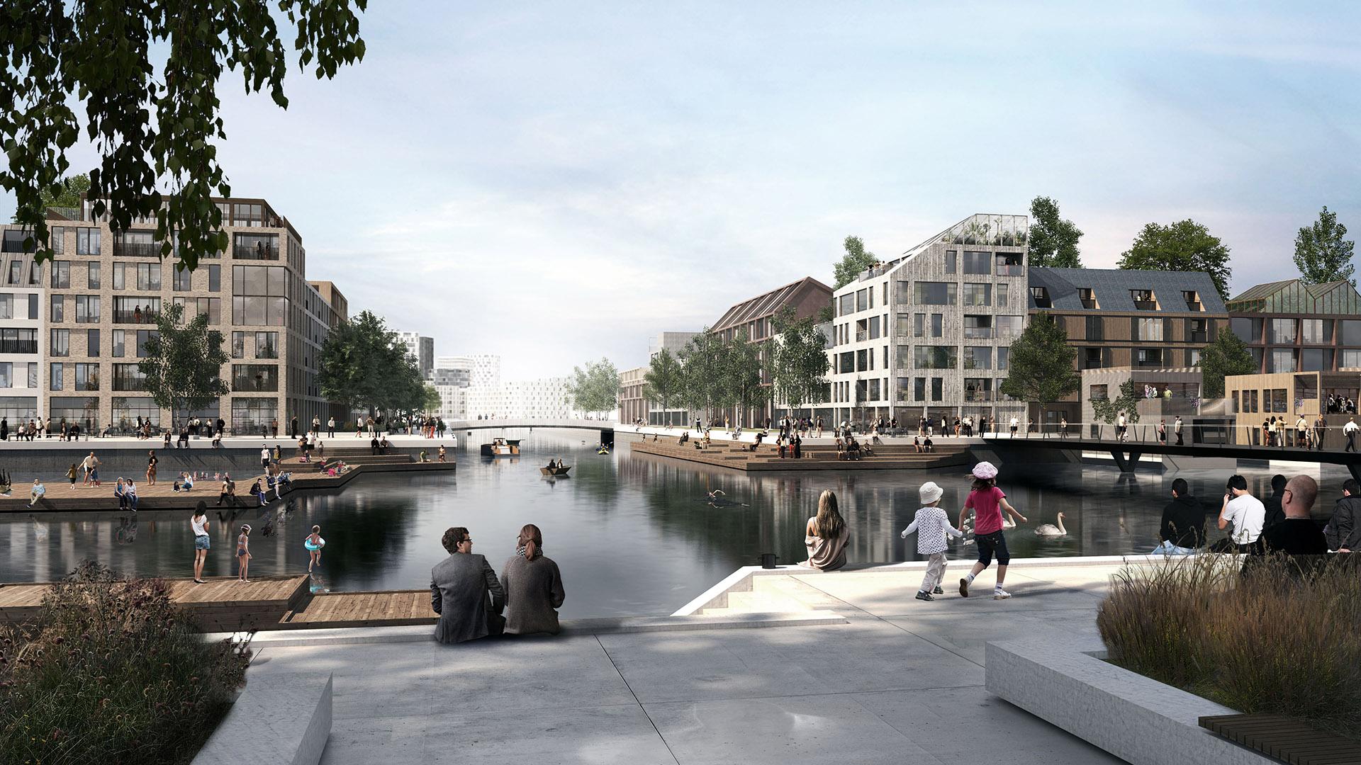 Havainnekuva Hiedanranna Järvikaupungista yleissuunnitelmaa varten